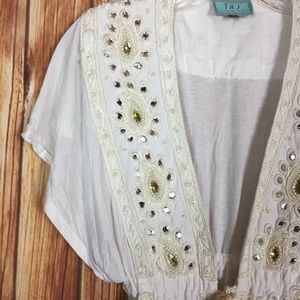 TAJ By Sabrina Crippa Cream Gem Embroidery Tie Top